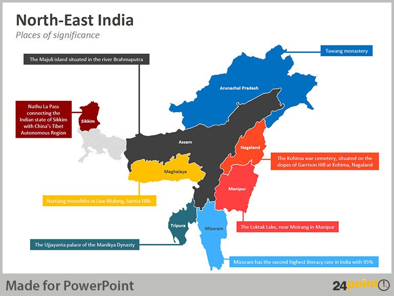 North East India Map - Places of Significance