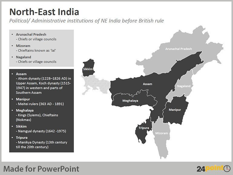 North East India Map - Political/Administrative Institutions