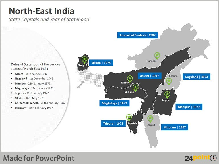 North East India Map - State Capitals and Year of Statehood