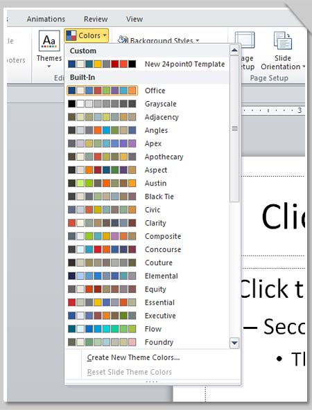 PowerPoint - Color chart menu